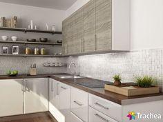 Výsledek obrázku pro kuchyně bílá hnědé kachličky