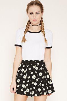 Daisy Print Skater Skirt