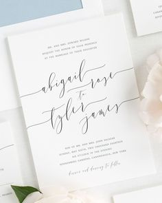 Romantic dusty blue wedding invitations with gorgeous modern calligraphy. Printed on white matte card stock. Create the perfect stationery with Shine! Choose from several envelope liner patterns, 40+ ink colors, and your choice of wording. Click here to begin!