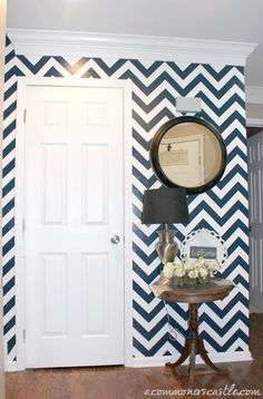 great example of how to decorate with a bold patterned chevron wall -- plus a tutorial on how to paint it! #chevron #stripe #painting #wall #tutorial
