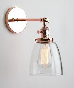 Wall Light Edison Copper Sconce Glass Shade Bulb Included Vintage Retro in Home…