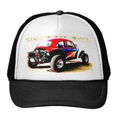 red white and blue baja bug in all categories hat