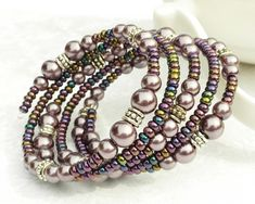 Memory Wire Bracelet Purple Pearls 5 Wraps