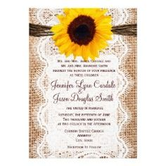 #SOLD Rustic Burlap Lace Twine Sunflower Wedding Invitations on #Zazzle