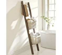 LUCAS RECLAIMED WOOD BATH LADDER STORAGE, but I feel like I could totally make this.