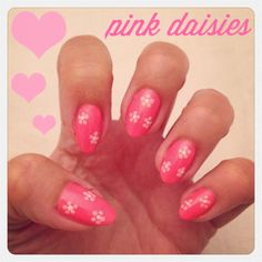 My pink flower nail art!