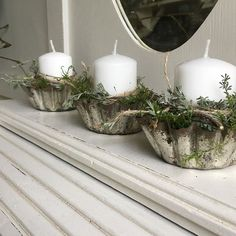 Candles in Fluted Edge Tin Cups...