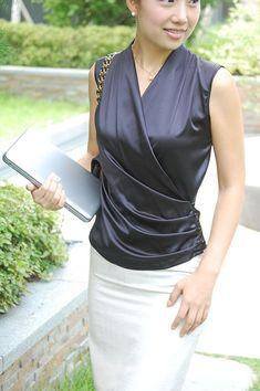 White Pencil Skirt and Black Satin Blouse