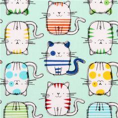 mint green cat animal fabric multi by Timeless Treasures - Animal Fabric - Fabric - kawaii shop modeS4u