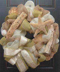 Seaside Deco Mesh Wreath with Burlap