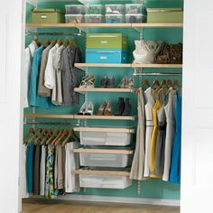 Mini Closet Organizers for Kid's Rooms : Small Walk In Closet Blue Wall Paint Modern Closet Organizers