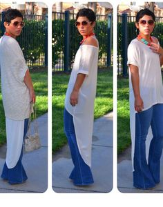 mimi g.= OOTD Fab high low top w/wide leg jeans Fashion Casual, Casual Chic, Love Fashion, Casual Wear, Casual Outfits, Summer Outfits, Cute Outfits, Womens Fashion, Jeans Fashion