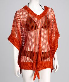 Take a look at this Kaktus Burnt Orange Tie-Front Mesh Cover-Up by Kaktus on #zulily today!