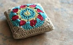 crochet pin cushion. Inspiration only.
