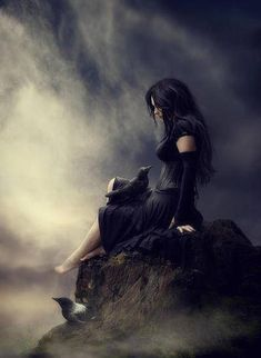 raven, girl, mist