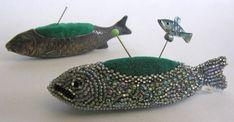silver fish pincushion, antique