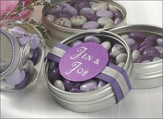 """Leonardo DaVinci said, """"Simplicity is the ultimate sophistication."""" His brilliant quotation was our inspiration for the sophisticated """"Simply Sweet"""" Personalized Candy Tin. To make this favor special and uniquely yours, choose from 14 amazing designs for personalization. Fill the tins with something flavorful to fill your guests with delight!"""