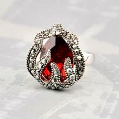 $4.91 Cute Diamante Faux Gemstone Flower Bud Embellished Alloy Ring For Women