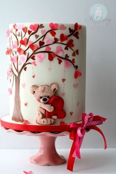 A Valentine's Day Cake Tutorial - McGreevy Cakes - cakemaking Fancy Cakes, Cute Cakes, Pretty Cakes, Decoration Patisserie, Bolo Cake, Cake Fondant, Valentines Day Cakes, Valentine Recipes, Holiday Cakes