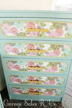 Garage Sales R Us: Mod Podge Dressers......gonna attempt this on the girls' plain dressers.....