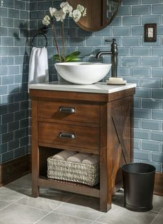 Fresh Single Vanity Cabinet with Vessel Sink