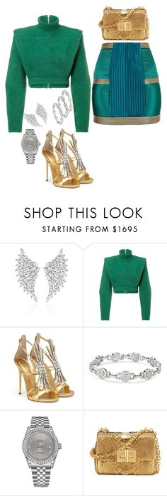 """Untitled #235"" by iamchictrend on Polyvore featuring Messika, Balmain, Giuseppe Zanotti, Rolex and Tom Ford"