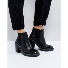 ASOS ENTAIL Premium Leather Heeled Chelsea Boots (5.255 RUB) ❤ liked on Polyvore featuring shoes, boots, black, beatle boots, block heel boots, leather heeled boots, black high heel shoes and black block heel boots