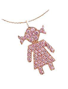 Crivelli Ciondolo Bimba Edizione Limitata: Ciondolo in oro rosa con zaffiri rosa