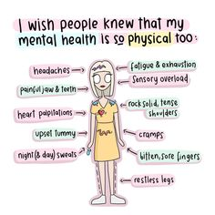 Mental illness isn't just all in your mind . You also start to feel physical ill too . Just because you cannot see it doesn't mean it's not real ! Mental Health Quotes, Mental Health Matters, Mental Health Problems, Quotes About Mental Illness, Mental Illness Symptoms, Causes Of Mental Illness, Mental Illness Facts, What Is Mental Health, Mental Health Recovery