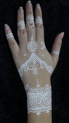 White Henna hand decoration
