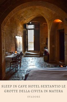 Sleep in Cave Hotel Sextantio Le Grotte della Civita in Matera, Basilicata. The term luxury is redefined at the cave hotel Sextantio Le Grotte della Civita located in the Sassi area of Matera. This albergo diffuso, or dispersed hotel, brings to life the history, atmosphere, life, and soul of i sassi recognized as a UNESCO World Heritage Site. Plan the rest of your trip through Italy and Puglia on travel blog svadore. #puglia #matera #basilicata #roadtrip #italy #italia #svadore #unesco… World Travel Guide, Travel Guides, Travel Advise, Travel Tips, Travel Pictures, Cool Pictures, Travel Around The World, Around The Worlds, Cave Hotel