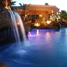 Large Pool with Waterfall and Flaming Fountains