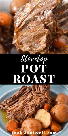 Stovetop Pot Roast Here we have a comfort food classic! An easy and delicious pot roast that's cooked low and slow on the stovetop until it's fall-apart tender. This pot roast is Sunday Dinner worthy with very little fuss. Chuck Roast Stove Top Recipe, Chuck Roast Recipes, Pot Roast Recipes, Cooking Recipes, Healthy Recipes, Game Recipes, Lentil Recipes, Steak Recipes, Food Cakes