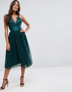 ASOS PREMIUM Lace Top Tulle Midi Prom Dress with Ribbon Ties at Asos (affiliate link)