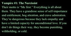 #1 Emotional  Vampire Narcissist ohhhh yes yes yes @Sarah Chintomby Scibetta-Torres
