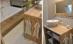 Meuble salle de bain et miroir Pays Bois.