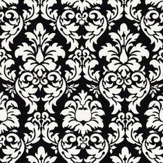 Dandy Damask in Black -- Manufacturer: Michael Miller -- Designer: Michael Miller House Designer -- Collection: Mod Basics -- Print Name: Dandy Damask in Black