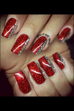 30 gorgeous christmas nail art ideas to beautify the moment 8 Xmas Nails, Holiday Nails, Red Nails, Christmas Nails, Red And Gold Nails, Red Nail Designs, Acrylic Nail Designs, Acrylic Nails, Silver Nails