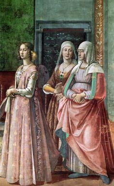 "Florence ""Domenico Ghirlandaio, 1486-90: The Birth of St John the Baptist (detail)""-realm of Venus -- ""1488 Italian Garb - Giornea"""
