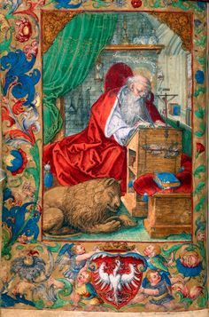 Saint Jerome, a leaf from the Prayer Book of Sigismund I the Old by Stanisław Samostrzelnik, 1524 (PD-art/old), British Library