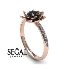 Unique Engagement Ring 14K Red Gold Flower Black by SegalJewelry
