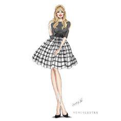 Brigitte Bardot por Mercedes Galán  Vichy Skirt Blonde Illustration Vogue Icono Chic