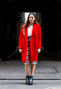 Blazing Red - A sharp red blazer and a split monochrome midi is a match made in concrete catwalk heaven. Pump up the look with sheer lace layering, a matching lip and new season mules. Red Blazer, Match Making, Style Snaps, Layering, Catwalk, Monochrome, Knitwear, Concrete, Pump