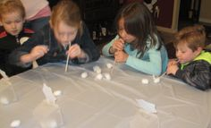 """Rolling snowball game. Cotton balls, straws and small baskets for them to blow the """"snow balls into)"""