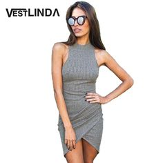 ab96d9f22 VESTLINDA Summer Sexy Women Knitted Dresses Ladies Sleeveless Wrap Beach  Mini Short Dress Bodycon Dress Turtleneck Robe Femme-in Dresses from Women's  ...