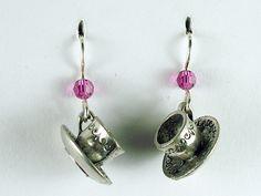 Pewter & sterling silver 3-D tea cup & saucer dangle earrings- teacup, tea cups