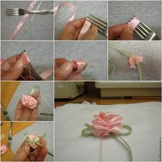 How to DIY Easy Satin Ribbon Rosette with a Fork | iCreativeIdeas.com Like Us on Facebook ==> https://www.facebook.com/icreativeideas