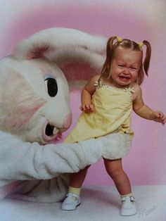 I had my picture taken with the most frightening easter bunny ever! To this day I am completely uncomfortable around people in oversized animal costumes.