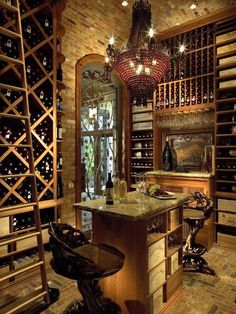 Residential wine cellar with old world charm.