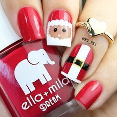 Down here check out this collection of 18 Christmas Santa nail art designs & ideas of these Xmas nails are adorable. Santa Nails, Xmas Nails, Christmas Nails, Santa Christmas, Red Nails, Christmas Christmas, Valentine Nails, Uv Gel Nails, Halloween Nails
